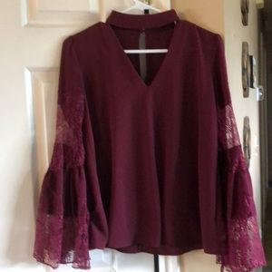 Burgundy blouse with bell lace sleeves